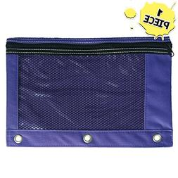 1 Purple Zippered Pencil Case by School Smarts - 3 Ring Purp