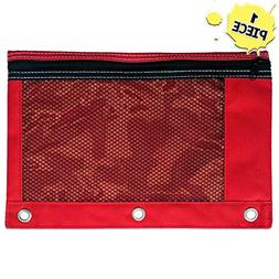 1 Red Zippered Pencil Case by School Smarts - 3 Ring Red Pen