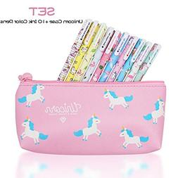 10 pcs Unicorn Flamingo Gel Pens Set with Unicorn Pen Pencil