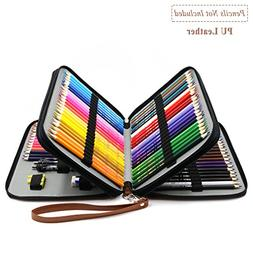 YOUSHARES 120 Slots Pencil Case - PU Leather Handy Multi-lay