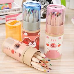 12pcs Painting Drawing Colorful Pencil With Wooden Case Box