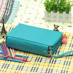 136 Slots PU Leather Pencil Case 3 Layer Large Capacity Penc