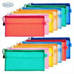 14Pcs 7 Color Pen Pencil Case Zip Pouch Double Layer File Ba