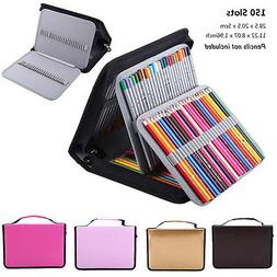 150 Slots Large Capacity Colored Pencil Case PU Leather Pen
