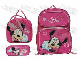 """16"""" Minnie Mouse Teen Girls School Book Backpack, Lunch Bag,"""
