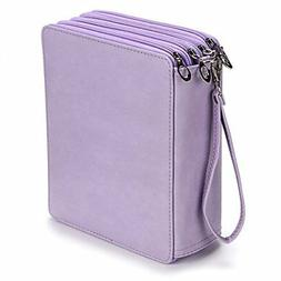 BTSKY 160 Slots Colored Pencil Organizer - Deluxe PU Leather