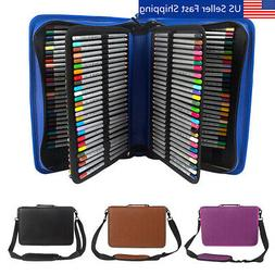 160 Slots PU Leather Zipper Pencil Pen Case Holder Pouch Adj