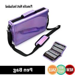 160Slots Laser Purple Pen Storage Bag Colored Pencil Case Dr