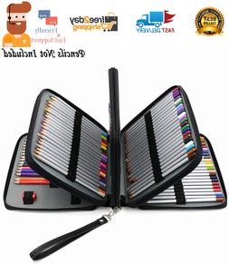 168 Slots Colored Pencil Organizer - Deluxe PU Leather Case