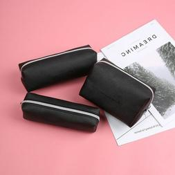 1PC Black PU Leather Pencil Case Large Capacity Stationery Z