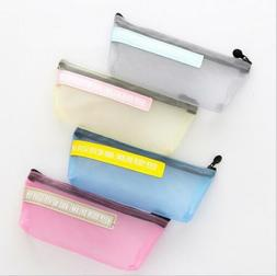 1X Simple Transparent Mesh gauze pencil case Storage bag sch