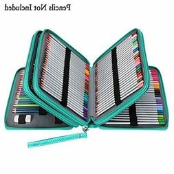 BTSKY 200 Slots Colored Pencil Organizer - Deluxe PU Leather