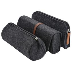 3 Pack Pencil Case Soft Felt Roll up Pencil Holder Cosmetic