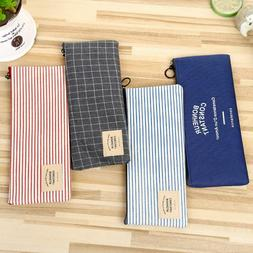 3 Colors Grid Stripe Pencil Case Cosmetic Pouch Stationery S