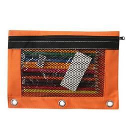 3 Hole Pencil Pouch with Mesh Window - Water Resistant Inter