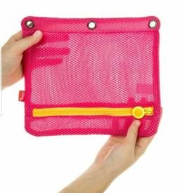 ZIPIT 3 Ring Mesh Pencil Case - Pink/Yellow