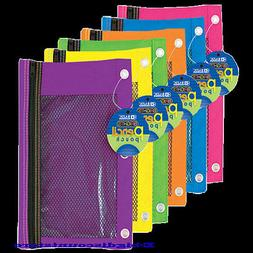 Bazic 3-Ring Pencil Pouch cases with Mesh Window Bright Colo