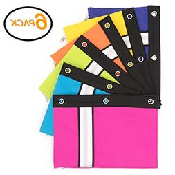 Emraw 3-Ring Pencil Pouches - Bright Color Pencil Pouch for