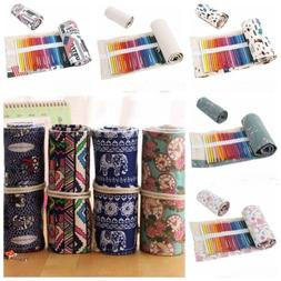 36/48/72 Holes Canvas Wrap Roll Up Pencil Bag Pen Case Holde