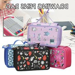 4 Layers 72 Pencil Case Drawing Sketching Art Pen Holder Bag