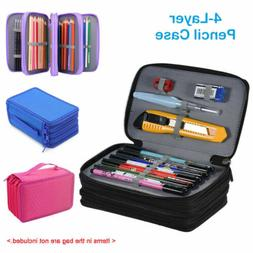 4 Layers 72 Slots Large Pencil Brush Case Box Pen Pouch Bag