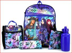 "5 pcs - Descendants 2 Wickedly Cool 16"" BACKPACK + LUNCH Bag"