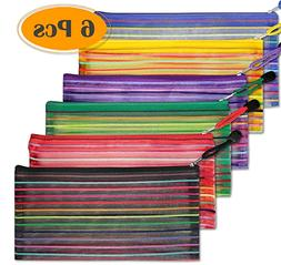 6 Pcs Pencil Pouch Plastic Cases Zipper Mesh Pouch Bag for O