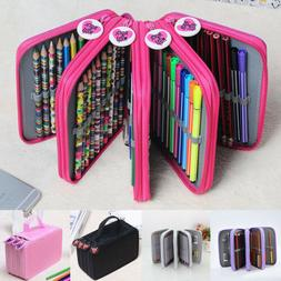 72 Slot Colored Pencil Case Organizer Foldable PU Leather Pe