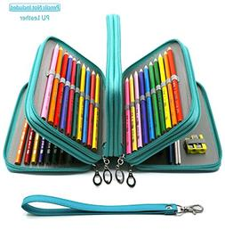 YOUSHARES 72 Slots Pencil Case - PU Leather Handy Multi-laye