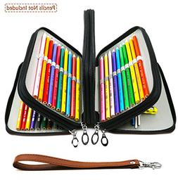72 Slots Pencil Case - PU Leather Handy Multi-layer Large Zi