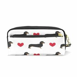ALAZA Cute Dachshund Dog Love Heart White PU Leather Pen Pen