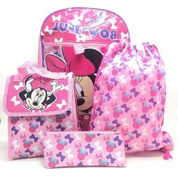 Minnie Mouse 5pcs Set Girl Backpack Pencil Case Water Bottle