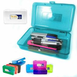 Plastic Pencil Box Case Kids School Office Supplies Pen Art
