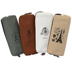 Set of 4, IPOW Hot Vintage Canvas Student Pen Pencil Case Co