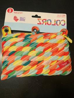 ZIPIT Colorz 3 Ring Pouch Pencil Case Circles Orange Red Gre