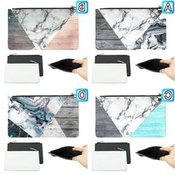 Abstract Marble Mint Wood Girly Leather Pen Pencil Case Make