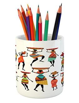 Ambesonne African Pencil Pen Holder, Pattern of Cool African