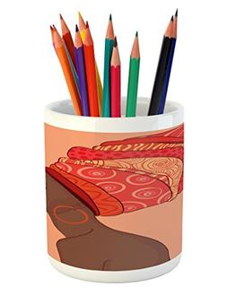 Ambesonne African Woman Pencil Pen Holder, Exotic Young Nati