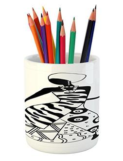 Ambesonne African Woman Pencil Pen Holder, Woman Silhouette