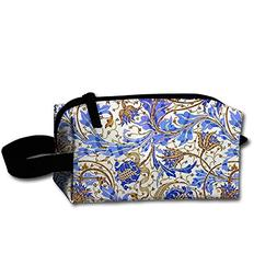 Travel Cosmetic Bag Bohemian Nomadic Floral Stripe Blue Flow
