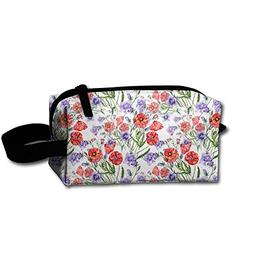 Travel Cosmetic Bag Watercolor Bouquet Poppy And Bell Flower