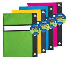 BAZIC Bright Color 3-Ring Canvas Pencil Pouch in assorted co