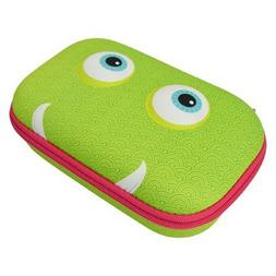 Zipit Beast Pencil /Storage Box Case Green Face Blue Eyes Pi