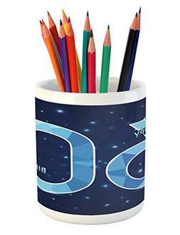 Ambesonne 60th Birthday Pencil Pen Holder, Space Theme Stage