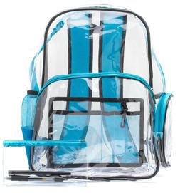 Blue clear backpack with pencil case - heavy duty, strong an