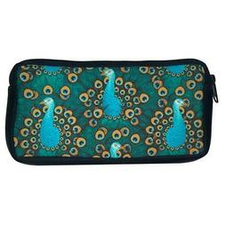 Blue Turquoise Peacock Neoprene Pencil Case Cosmetic Makeup