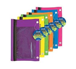 BAZIC Bright Color 3-Ring Pencil Pouch w/ Mesh Window, Case
