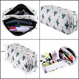 SIQUK Cactus Pencil Case Large Capacity Pen Case Double Zipp