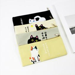 Canvas Funny Cat Cartoon Pencil Case Kawaii Stationery Pouch