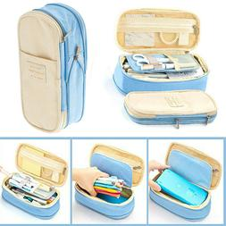 Canvas Large Capacity Pencil Case Multifunctional Zipper Sch